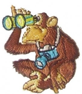 Pegatina Termoadhesiva Mono con Prismáticos y Cámara - 6 unidades
