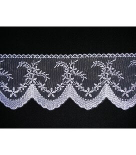 Embroidered Tulle - Width 7.5cm - Piece 8 meters - 2 colors