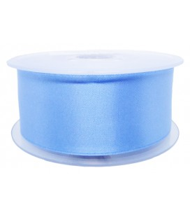 Double Side Satin Ribbon - 39mm - Roll 25 meters - Sky blue color