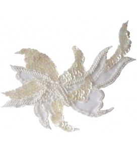 Paillettenapplikation - 16 x 11 cm - Weiße Farbe