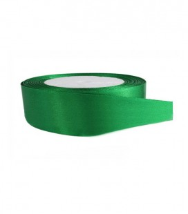 Double Side Satin Ribbon - 25mm - Roll 25 meters - Emerald Green