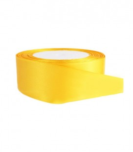 Double Side Satin Ribbon - 25mm - Roll 25 meters - Yellow