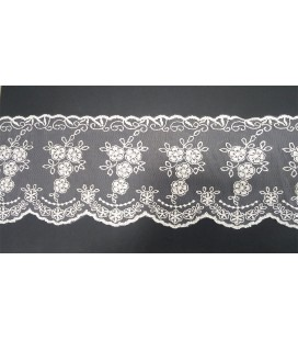 Embroidered Tulle - Width 12,5 cm - Piece 8 meters - 4 colors