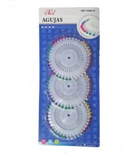 12 Blister de 90 agujas coser + enhebrador - Varias medidas