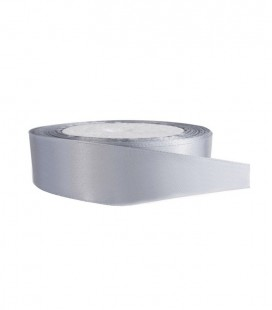 Double Side Satin Ribbon - 25mm - Roll 25 meters - Gray