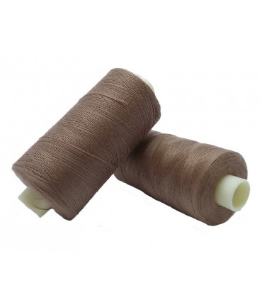 Polyester thread 1000m - Box of 6 pcs. - Medium brown color