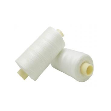 Polyesterfaden 1000m - Karton mit 6 Stück - Gebrochene weiße Farbe