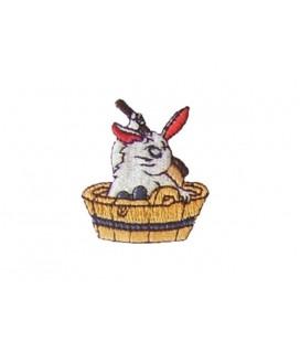 Pegatina Termoadhesiva Conejo Cepillando Espalda - 6 unidades