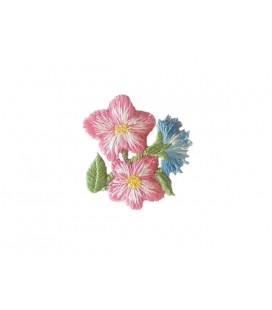 Autocollant thermoadhésif fleur rose et bleu clair - 12 unités