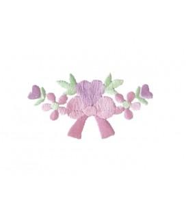 Thermoadhäsive Krawatte mit Blumen und Herzen - 6 Stück Aufkleber
