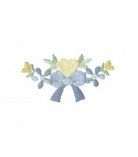 Pegatina Termoadhesiva Lazo con Flores y Corazones - 6 unidades