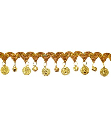 Gold trimmings with sequins, coins and bells | 9 meters