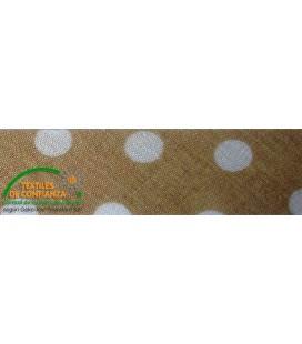 Bies printed 18mm - Brown with polka dots