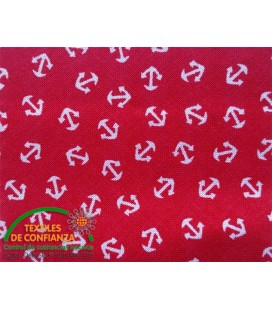 Bies printed 18mm - Red with anchors