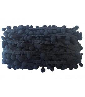 Tiras madroños color negro   Rollo 18 metros