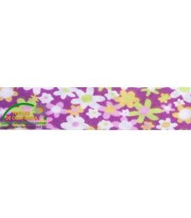 Bies imprimé 30mm - Fleurs diverses couleurs