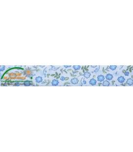 Bies poliester estampado 30mm - Flores azul