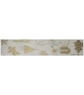 Bies Christmas Cotton 18mm - Ivory and gold