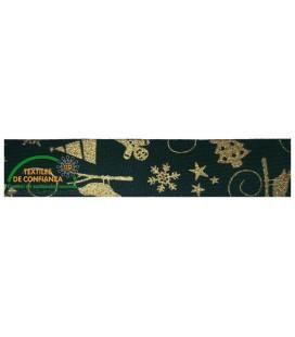Bies Algodón Navidad 18mm - Color Verde y oro