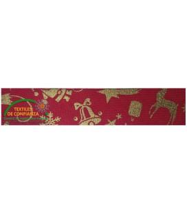 Bies Algodón Navidad 30mm - Color Rojo y oro