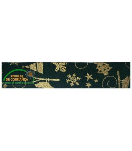 Bies Cotton Christmas 30mm - Farbe Grün und Gold