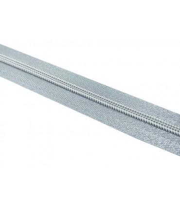 Roll 100 Mts Zipper - Mesh 5 (3 cm wide) - Silver color