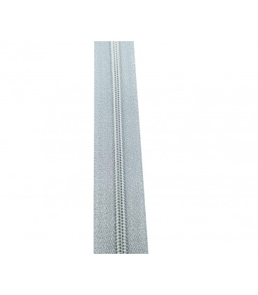 Roll 100 Mts Zipper - Mesh 5 (3 cm wide) - Silver color
