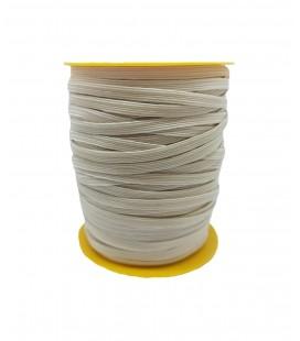 Tresse en caoutchouc élastique - 5mm - Rouleau 100 mètres - Brut / Naturel