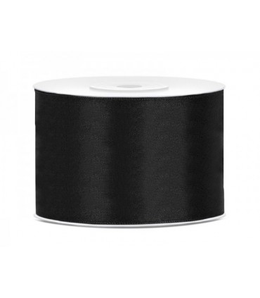 Double Side Satin Ribbon - 66mm - Roll 25 meters - Black color