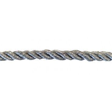 Braided Rayon Cord 5mm - Silver color - Roll 20 meters