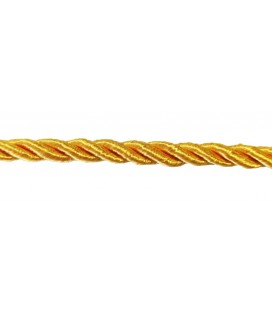 Braided Rayon Cord 5mm - Yellow color - Roll 20 meters