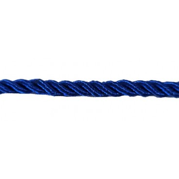Braided Rayon Cord 5mm - Blue color - Roll 20 meters