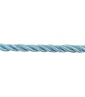 Braided Rayon Cord 5mm - Sky blue color - Roll 20 meters