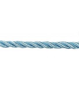 Cordon en rayonne tressée 5 mm - Couleur Celeste - rouleau de 20 mètres