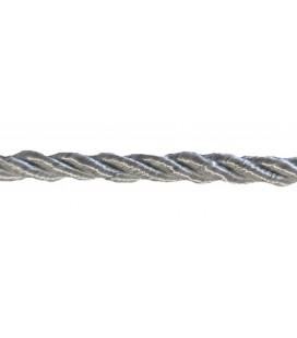 Cordon en rayonne tressée 5 mm - Couleur gris - rouleau de 20 mètres