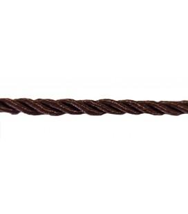 Cordon en rayonne tressée 5 mm - Couleur marron - rouleau de 20 mètres