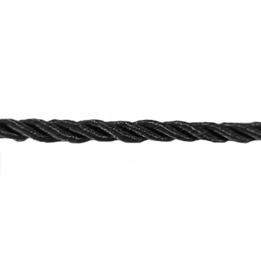 Braided Rayon Cord 5mm - Black color - Roll 20 meters
