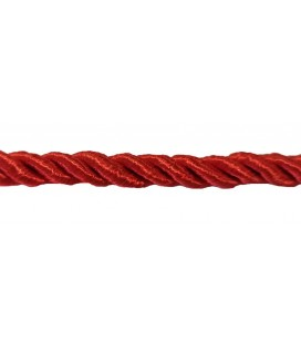Cordon en rayonne tressée 5 mm - Couleur rouge - rouleau de 20 mètres