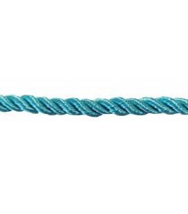 Cordon en rayonne tressée 5 mm - Couleur vert d'eau - rouleau de 20 mètres