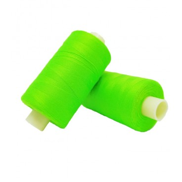 Polyester thread 1000m - Box of 6 pcs. - Fluor green color