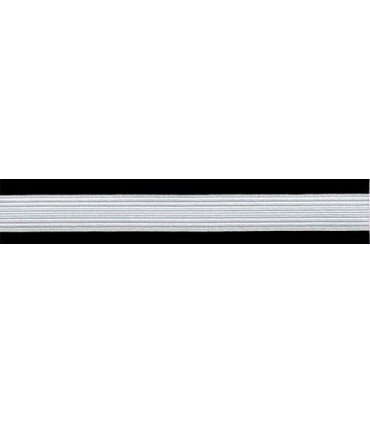 Goma Trenza Elástica - 16mm - Colores Blanco y Negro - Rollo 100 metros