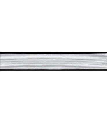Goma Trenza Elástica - 40mm - Rollo 25 metros - Color blanco o negro