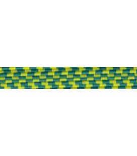 Goma Trenza Elástica - 8mm - Color Amarillo/Verde - Rollo 100 metros
