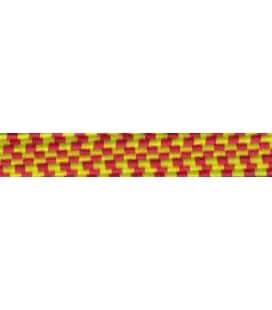 Goma Trenza Elástica - 8mm - Color Amarillo/Rojo - Rollo 100 metros