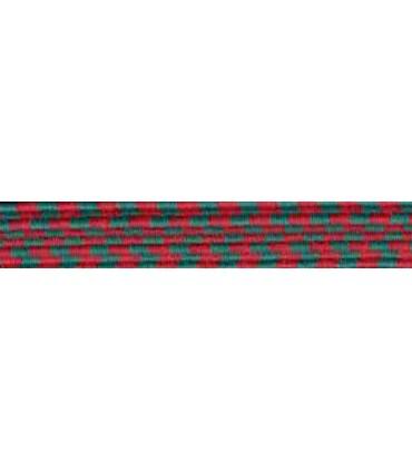 Caoutchouc tresse élastique - 6 mm - Couleur Vert / Rouge - Rouleau 100 mètres