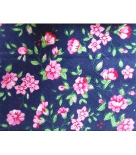Bies estampado 18mm - Azul con flores rosas