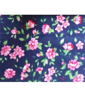 Bies print 18mm - Blue with pink flowers