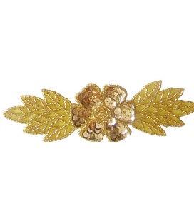 Flor con ojas color oro - 14.5 x 5.1 cm (6 unidades)
